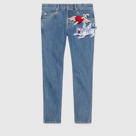 饰胸针锥形牛仔裤