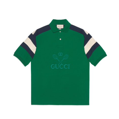 Gucci 网球印花超大造型 Polo 衫