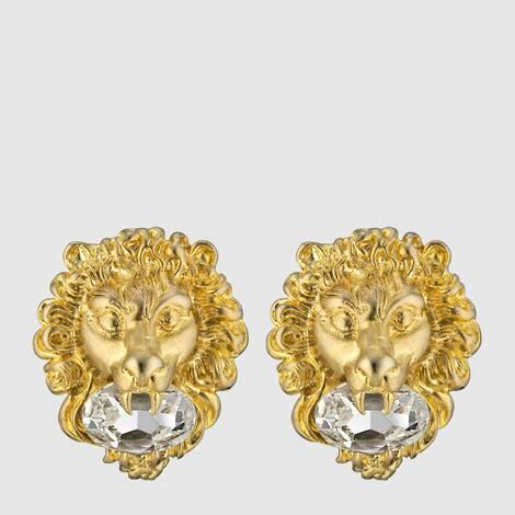 饰水晶狮头耳环