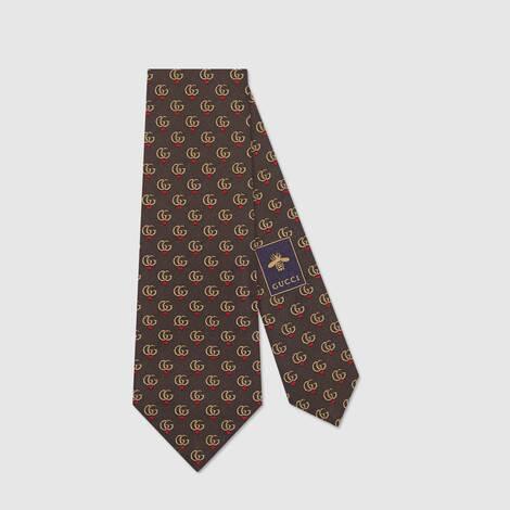 饰双 G 和红心提花领带