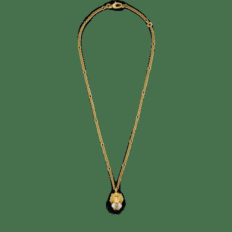 饰水晶狮头项链