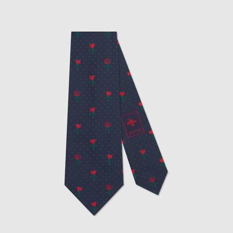 双 G、红心和花卉提花真丝领带