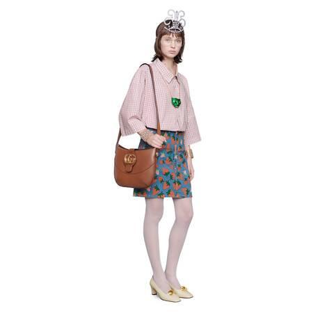 Gucci草莓印花牛仔半身裙