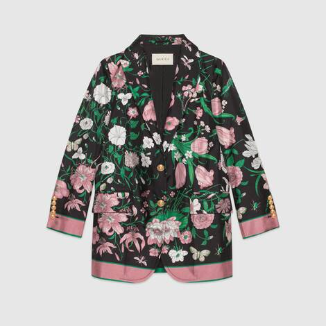 花卉印花真丝夹克