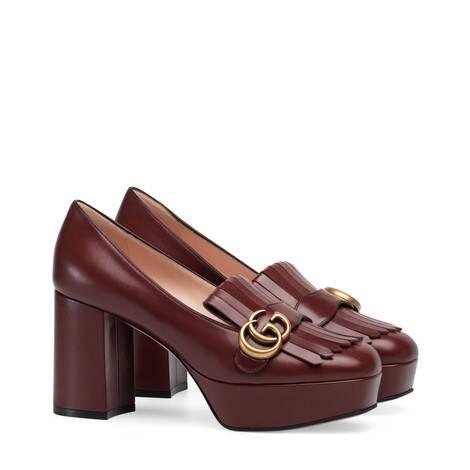 饰流苏皮革防水台浅口鞋