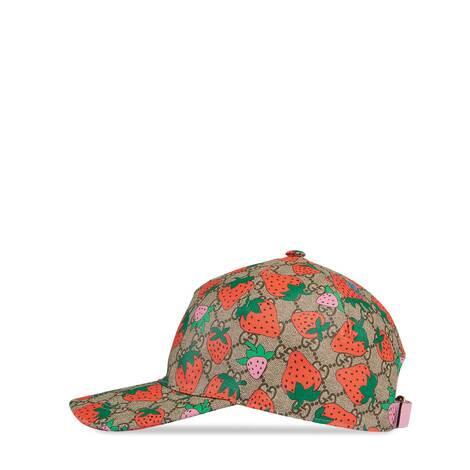 饰 Gucci 草莓印花 GG 棒球帽