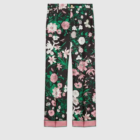 花卉印花真丝长裤