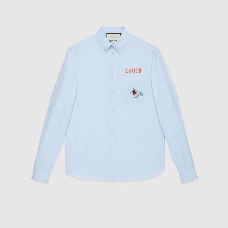 刺绣牛津棉衬衫