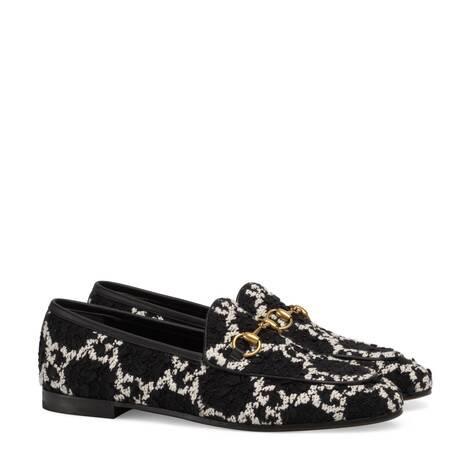 Gucci Jordaan 系列女士 GG 花呢乐福鞋