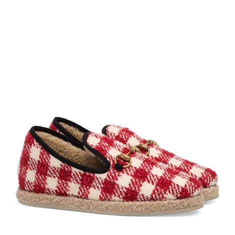 女士格纹花呢乐福鞋