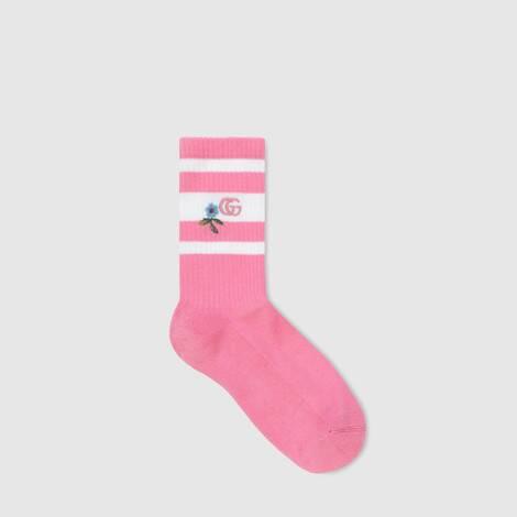刺绣厚绒布短袜