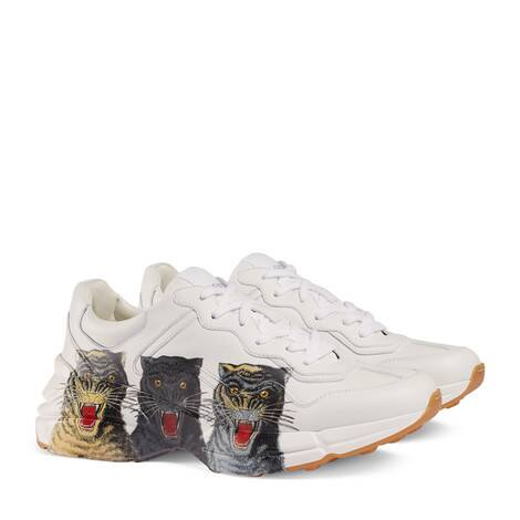 Rhyton 系列男士老虎印花皮革运动鞋