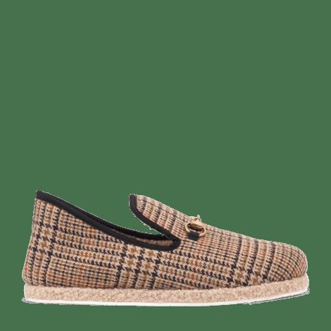 男士格纹羊毛乐福鞋