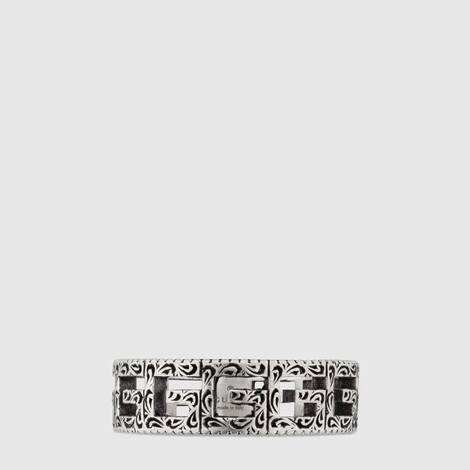 方形 G 图案纯银戒指