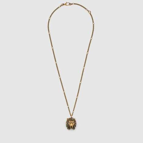 饰彩色水晶狮头项链
