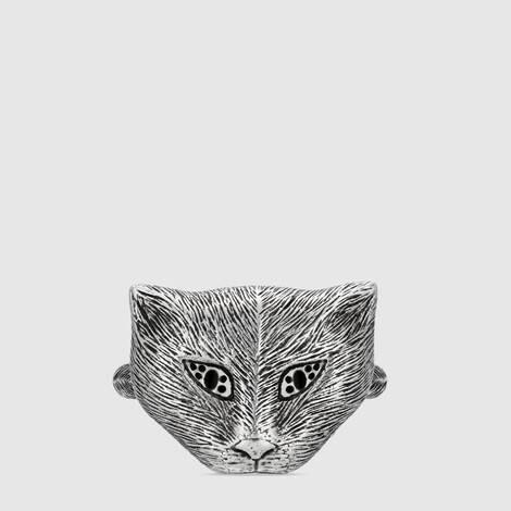 Gucci Garden 系列猫头纯银戒指