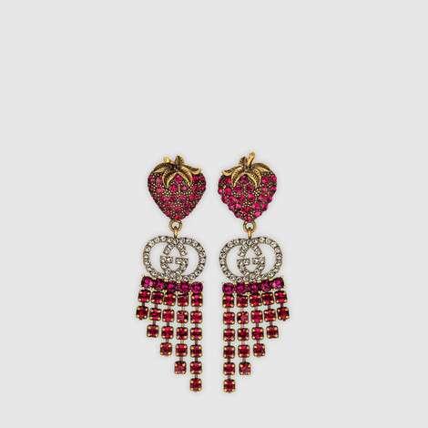 饰水晶草莓耳环