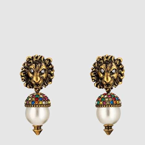 饰珍珠狮头耳环