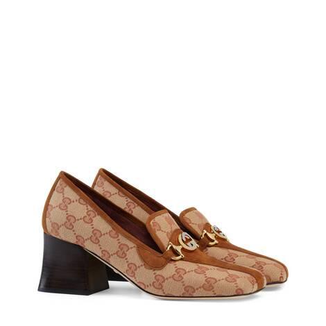 Gucci Zumi系列GG 帆布中跟乐福鞋