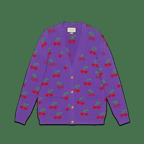 GG 樱桃提花羊毛针织开衫