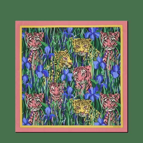 猫科动物花园印花真丝方巾