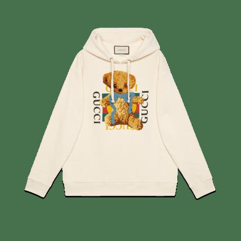 饰Gucci标识和泰迪熊超大造型卫衣