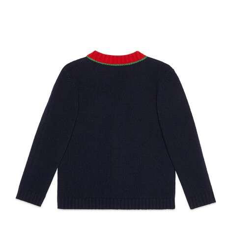 儿童 G 贴饰羊毛开衫