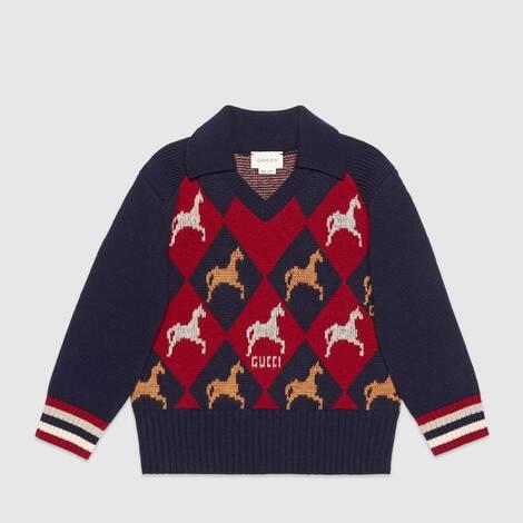 儿童马术图案羊毛 Polo 衫