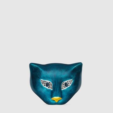 饰珐琅纯银猫头胸针