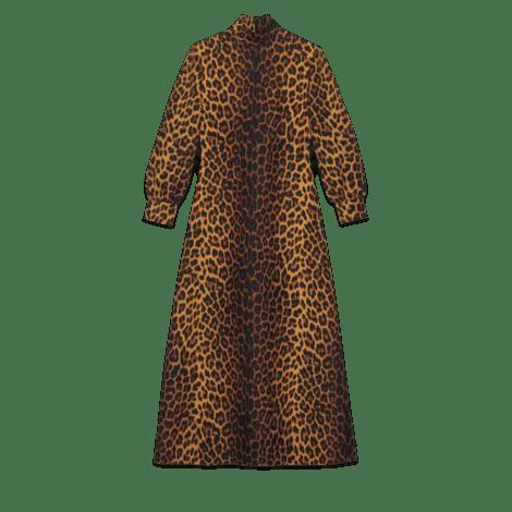 豹纹印花羊毛连衣裙