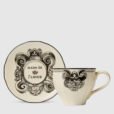 加大号星眼印花茶杯和杯托(双套组)