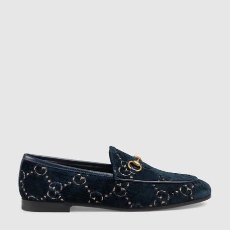 Gucci Jordaan系列GG天鹅绒乐福鞋