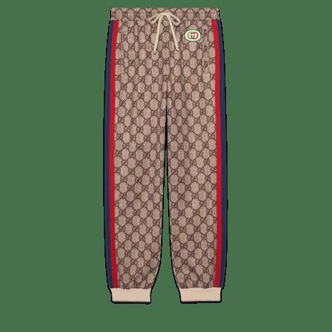 高级人造帆布图案印花慢跑长裤