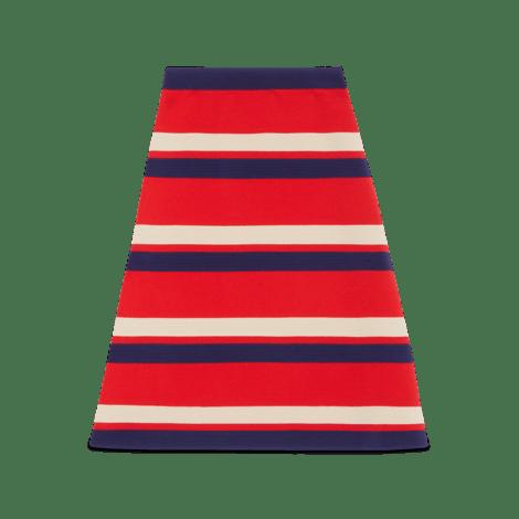 条纹羊毛半身裙