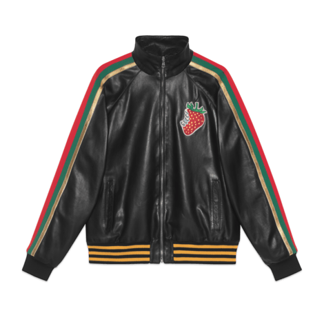 Gucci 草莓图案皮革飞行员夹克