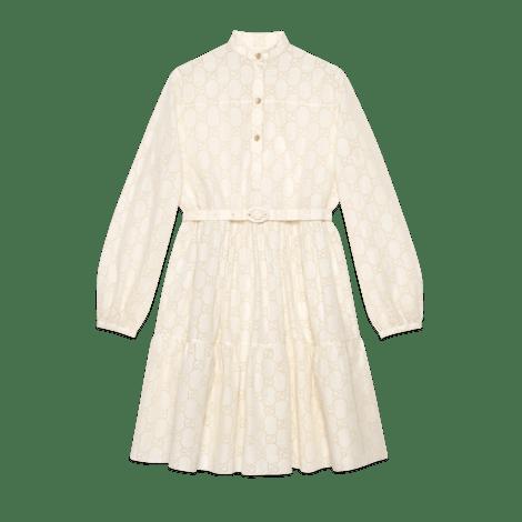 GG 刺绣英伦风连衣裙