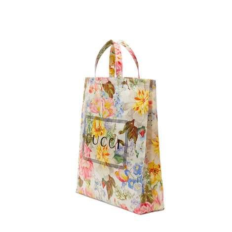 中号 Gucci 花卉印花购物袋