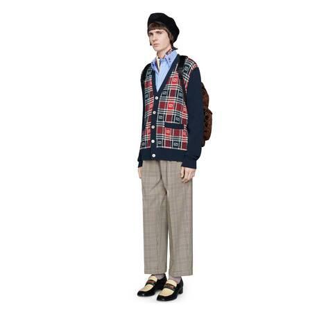 GG 格纹羊毛开衫