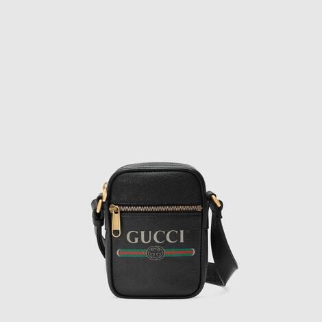 Gucci 印花皮革肩背包