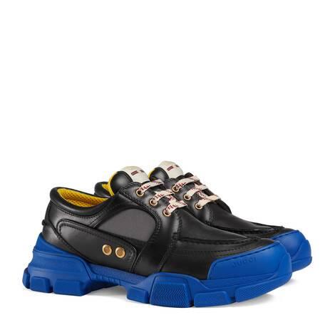 皮革尼龙拼接系带鞋