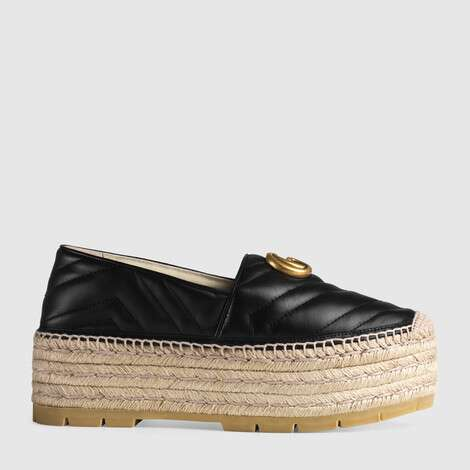 双G皮革草编鞋