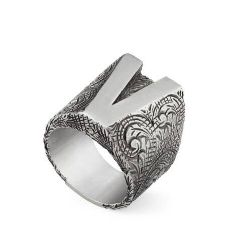 """字母""""V""""造型纯银戒指"""