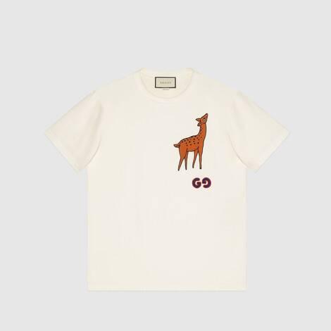 小鹿贴饰超大造型 T 恤