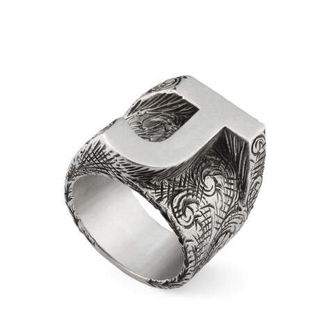 """字母""""J""""造型纯银戒指"""