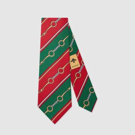 马衔扣链真丝领带