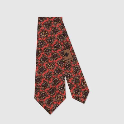 互扣式 G 佩斯利图案真丝领带