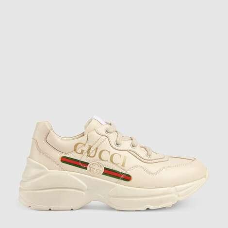 儿童 Rhyton 系列 Gucci 标识皮革运动鞋