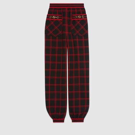 哈伦裤风格格纹羊毛长裤