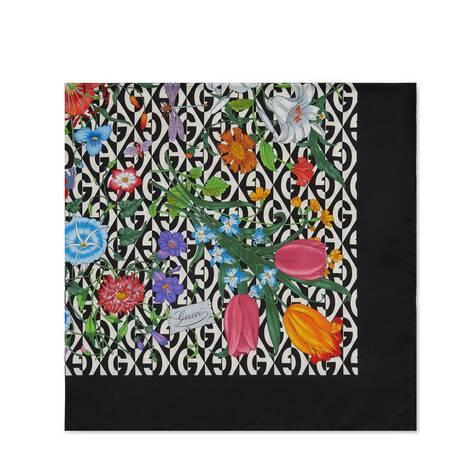 花卉和 G 菱形印花真丝方巾