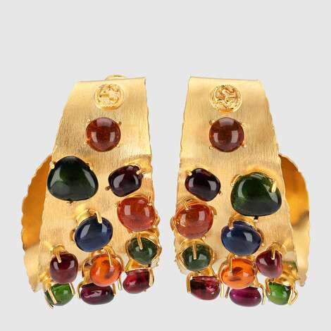 饰弧面宝石环状耳环